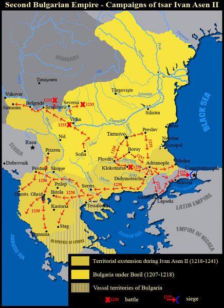 Drugo Bugarsko carstvo, mapa