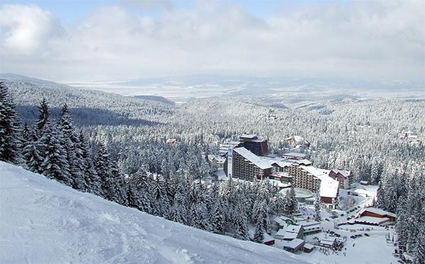 Borovec, panorama zimi